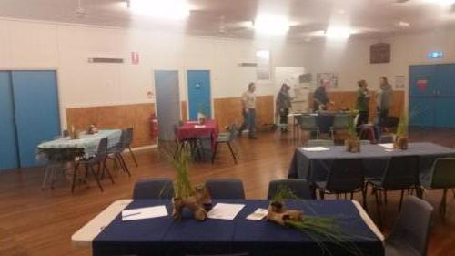 Setting up for winter trivia night